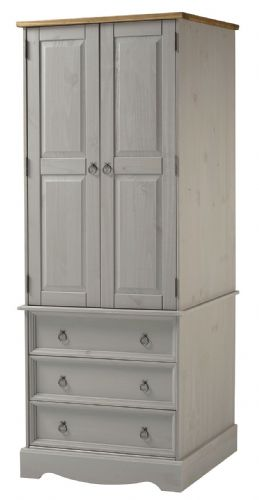 Premium Corona Grey Wash 2 Door | 3 Drawer Combination Wardrobe
